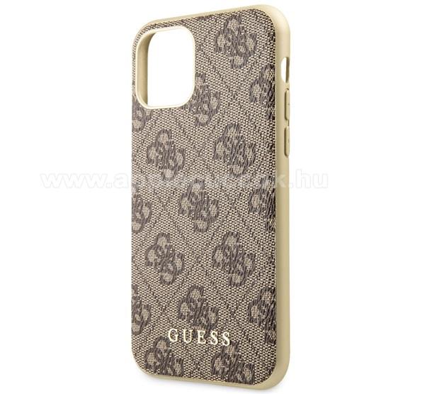 GUESS 4G műanyag védő tok / textil hátlap - BARNA - GUHCN65G4GB - Apple iPhone 11 Pro Max - GYÁRI