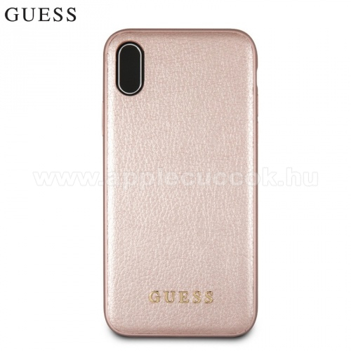 APPLE iPhone XS GUESS FACEPLATE m?anyag tok / h�tlap - ARANY - APPLE iPhone X / APPLE iPhone XS - GUHCPXIGLRG - GY�RI