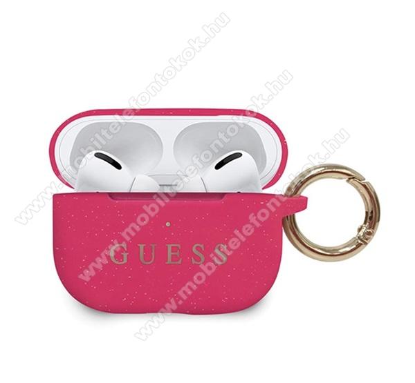 GUESS szilikon védő tok Apple AirPods Pro-hoz - karabíner, csillámporos, töltőnyílás - RÓZSASZÍN - GUACAPSILGLFU - GYÁRI