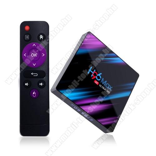 H96 Max HDMI TV okosító - Android 9.0, [2GB/16GB], 2.4//5G RK3318 Quad Core 64 Bit UHD 4K WiFi BT4.0, távirányítóval, kártyaolvasó, 2x USB port, 4k 4096×2160 felbontásra is képes! - FEKETE