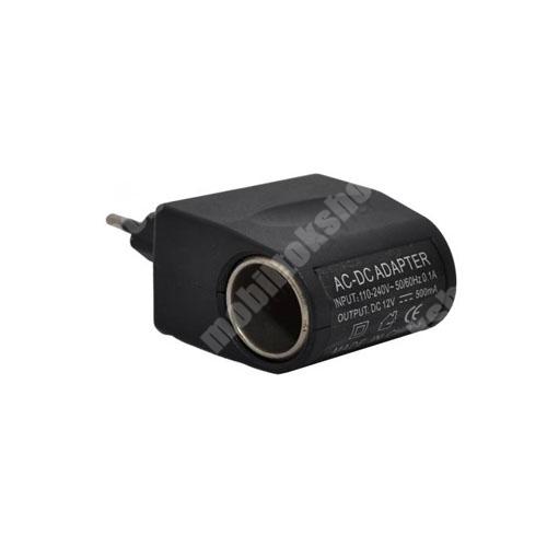 Hálózati adapter 220V/12V (12V/500mAh, szivartöltő aljzat) - FEKETE