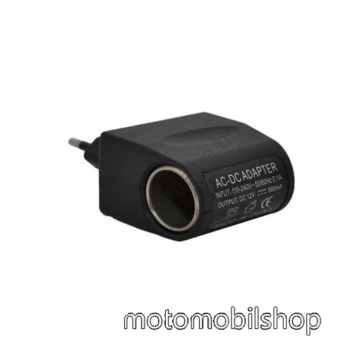 MOTOROLA U6 Hálózati adapter 220V/12V (12V/500mAh, szivartöltő aljzat) - FEKETE