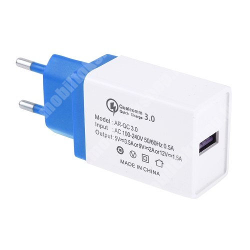 ALCATEL A30 Hálózati töltő - 1x USB port, 1x QC 3.0 - 5V-3.5A 9V-2A 12V-1.5A - FEHÉR / KÉK