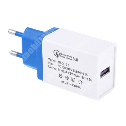 Hálózati töltő - 1x USB port, 1x QC 3.0 - 5V-3.5A 9V-2A 12V-1.5A - FEHÉR / KÉK
