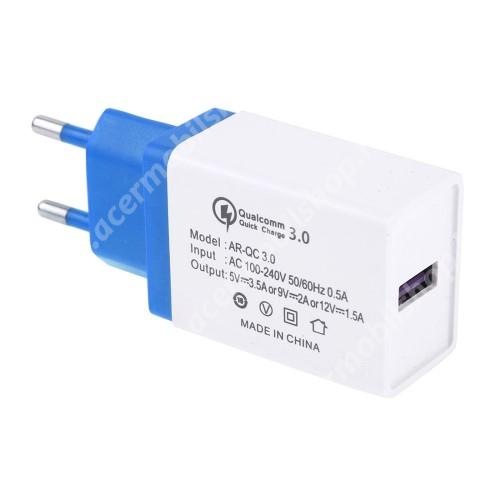 ACER Liquid Z3 Hálózati töltő - 1x USB port, 1x QC 3.0 - 5V-3.5A 9V-2A 12V-1.5A - FEHÉR / KÉK