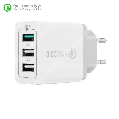 ALCATEL A30 Hálózati töltő - 30W, 3 USB port, 1 x QC 3.0 - 3.6V-12V/24W, 5V/2.4A 9V/2A 12V/2A, 2 x 5V/2.4A - FEHÉR