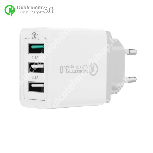 Hálózati töltő - 30W, 3 USB port, 1 x QC 3.0 - 3.6V-12V/24W, 5V/2.4A 9V/2A 12V/2A, 2 x 5V/2.4A - FEHÉR
