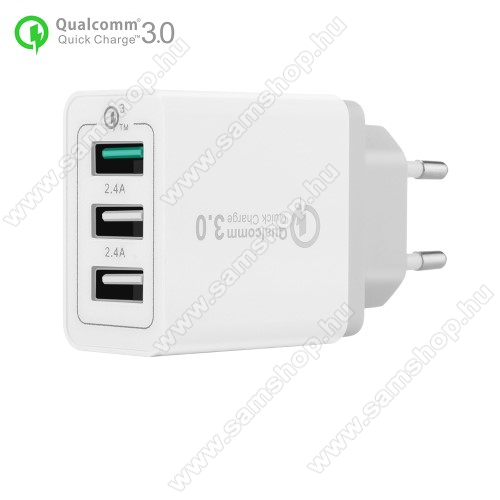 SAMSUNG SGH-X830Hálózati töltő - 30W, 3 USB port, 1 x QC 3.0 - 3.6V-12V/24W, 5V/2.4A 9V/2A 12V/2A, 2 x 5V/2.4A - FEHÉR