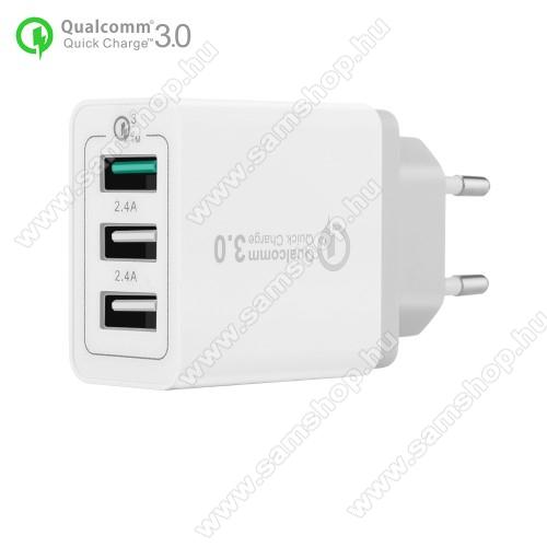 SAMSUNG GT-S5050Hálózati töltő - 30W, 3 USB port, 1 x QC 3.0 - 3.6V-12V/24W, 5V/2.4A 9V/2A 12V/2A, 2 x 5V/2.4A - FEHÉR