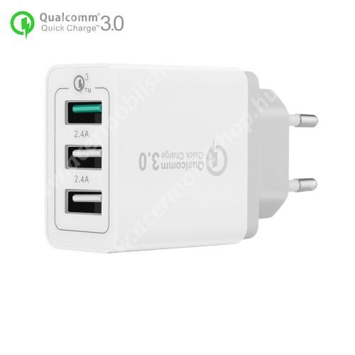 ACER Iconia Tab A3 Hálózati töltő - 30W, 3 USB port, 1 x QC 3.0 - 3.6V-12V/24W, 5V/2.4A 9V/2A 12V/2A, 2 x 5V/2.4A - FEHÉR