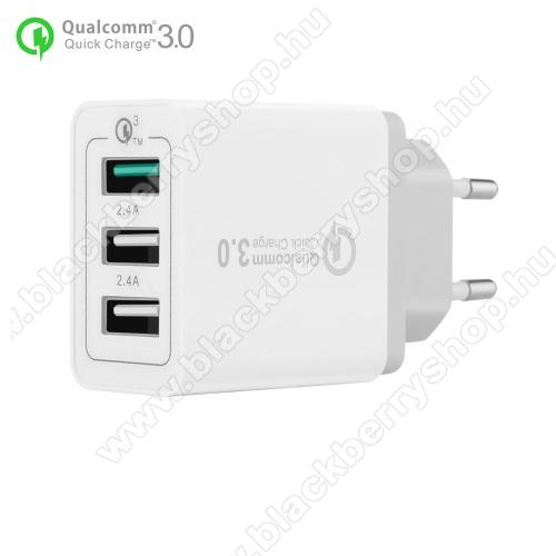 BLACKBERRY 9300 Curve 3GHálózati töltő - 30W, 3 USB port, 1 x QC 3.0 - 3.6V-12V/24W, 5V/2.4A 9V/2A 12V/2A, 2 x 5V/2.4A - FEHÉR
