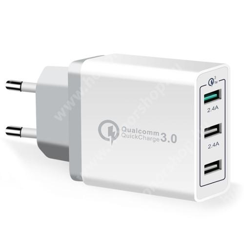 Hálózati töltő - 30W, 3 USB port, 1 x QC 3.0 - DC3.6V-6.5V / 3A.DC6.5-9V / 2A. 9 V-12 V / 1,5 A - FEHÉR