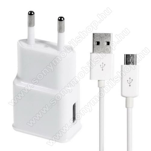 SONY Xperia T2 UltraHálózati töltő - 5V/1000mAh, USB aljzat, microUSB 2.0 adatátviteli / töltő kábellel - FEHÉR