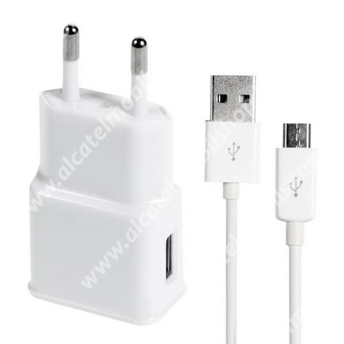 ALCATEL A3 XL Hálózati töltő - 5V/1000mAh, USB aljzat, microUSB 2.0 adatátviteli / töltő kábellel - FEHÉR