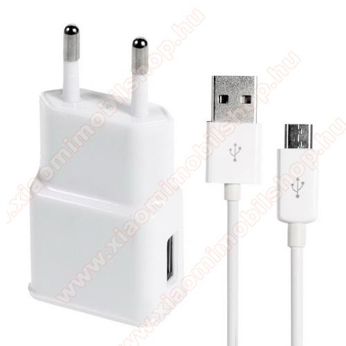 Xiaomi MI-4 LTEHálózati töltő - 5V/1000mAh, USB aljzat, microUSB 2.0 adatátviteli / töltő kábellel - FEHÉR