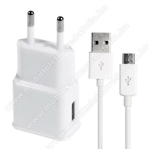 OPPO F7 YouthHálózati töltő - 5V/1000mAh, USB aljzat, microUSB 2.0 adatátviteli / töltő kábellel - FEHÉR
