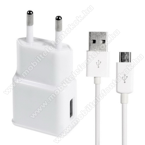 Hálózati töltő - 5V/1000mAh, USB aljzat, microUSB 2.0 adatátviteli / töltő kábellel - FEHÉR