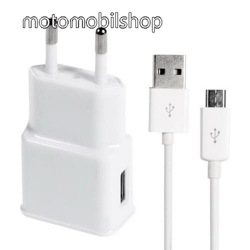 MOTOROLA Moto E5 Plus (2018) Hálózati töltő - 5V/1000mAh, USB aljzat, microUSB 2.0 adatátviteli / töltő kábellel - FEHÉR