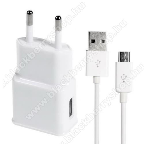 BLACKBERRY Q5Hálózati töltő - 5V/1000mAh, USB aljzat, microUSB 2.0 adatátviteli / töltő kábellel - FEHÉR