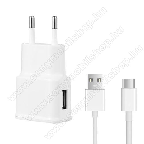 SONY Xperia XZ2 Premium (2018)Hálózati töltő - 5V/2100mAh, USB aljzat, Type-C töltõ, adatátviteli kábellel - FEHÉR