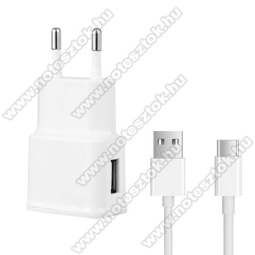 OPPO R17 ProHálózati töltő - 5V/2100mAh, USB aljzat, Type-C töltõ, adatátviteli kábellel - FEHÉR