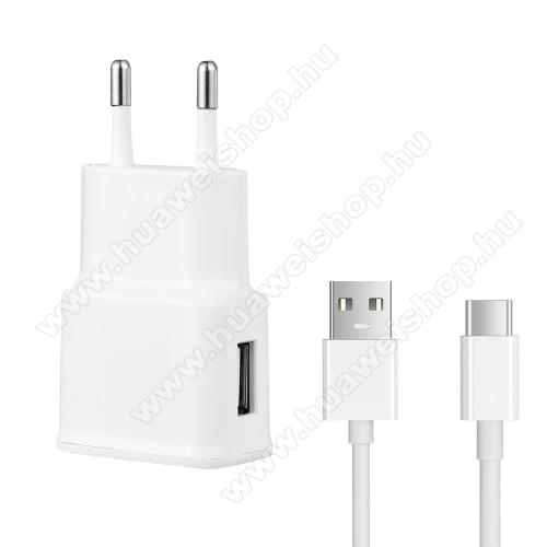 Hálózati töltő - 5V/2100mAh, USB aljzat, Type-C töltõ, adatátviteli kábellel - FEHÉR