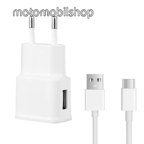 MOTOROLA P30 Hálózati töltő - 5V/2100mAh, USB aljzat, Type-C töltõ, adatátviteli kábellel - FEHÉR