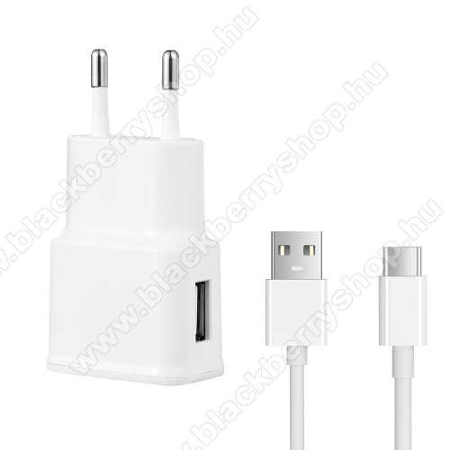 BLACKBERRY KeyoneHálózati töltő - 5V/2100mAh, USB aljzat, Type-C töltõ, adatátviteli kábellel - FEHÉR