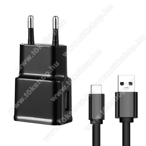 Hálózati töltő - 5V/2100mAh, USB aljzat, Type-C töltõ, adatátviteli kábellel - FEKETE