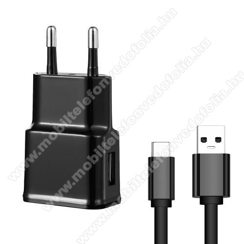 NOKIA 7.1Hálózati töltő - 5V/2100mAh, USB aljzat, Type-C töltõ, adatátviteli kábellel - FEKETE