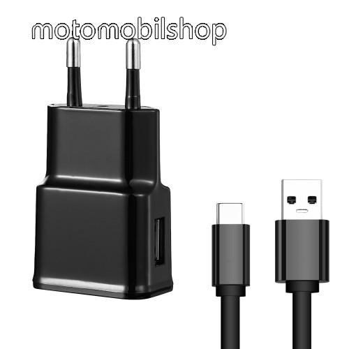MOTOROLA P30 Hálózati töltő - 5V/2100mAh, USB aljzat, Type-C töltõ, adatátviteli kábellel - FEKETE