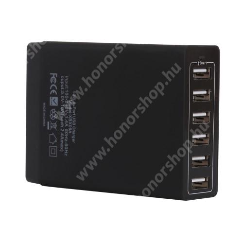 HUAWEI Honor 3C Play Hálózati töltő állomás / Asztali töltő állomás (max 50W), 6 x 5V / 2.4A USB aljazattal - FEKETE