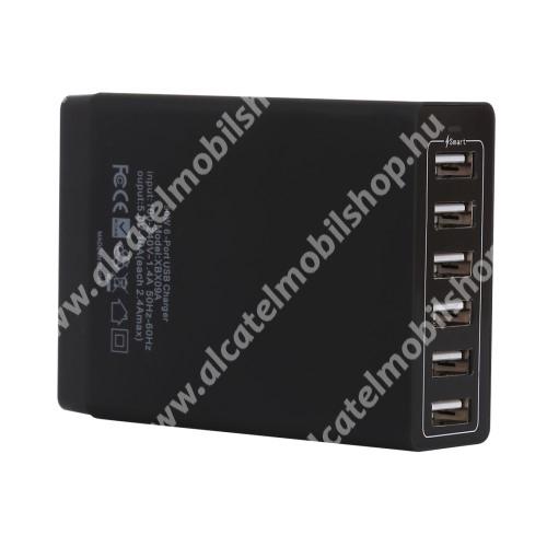 ALCATEL OT-208 Hálózati töltő állomás / Asztali töltő állomás (max 50W), 6 x 5V / 2.4A USB aljazattal - FEKETE