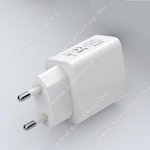 Hálózati töltő - USB aljzattal, 5V/2000mAh - FEHÉR
