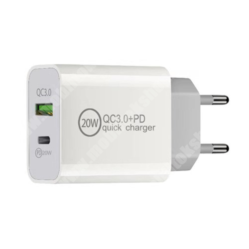 LG G4c (H525N) Hálózati töltő USB / Type C aljzattal - QC3.0/PD3.0 gyorstöltés támogatás, 20W, 3.6-6.5V/3A; 6.5-9V/2.25A; 9-12V/1.67A, KÁBEL NÉLKÜL! - FEHÉR