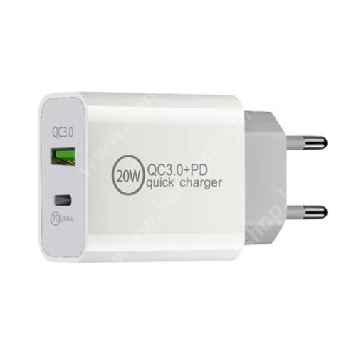 HUAWEI Honor V40 5G Hálózati töltő USB / Type C aljzattal - QC3.0/PD3.0 gyorstöltés támogatás, 20W, 3.6-6.5V/3A; 6.5-9V/2.25A; 9-12V/1.67A, KÁBEL NÉLKÜL! - FEHÉR