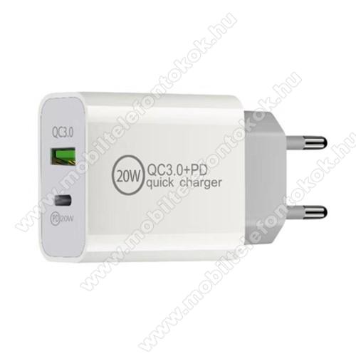 Hálózati töltő USB / Type C aljzattal - QC3.0/PD3.0 gyorstöltés támogatás, 20W, 3.6-6.5V/3A; 6.5-9V/2.25A; 9-12V/1.67A, KÁBEL NÉLKÜL! - FEHÉR