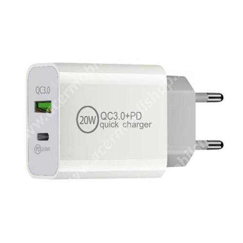 ACER Iconia Tab 8 A1-840FHD Hálózati töltő USB / Type C aljzattal - QC3.0/PD3.0 gyorstöltés támogatás, 20W, 3.6-6.5V/3A; 6.5-9V/2.25A; 9-12V/1.67A, KÁBEL NÉLKÜL! - FEHÉR