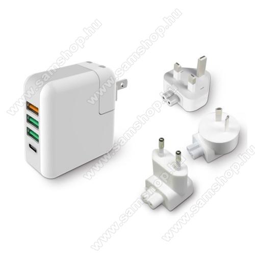 SAMSUNG SGH-i900 OmniaHálózati töltő / utazó töltő USB / Type C aljzattal - US UK EU AU 4 in 1, Quick Charge 3.0, 18W, 3x USB aljzat, USB1: 5V/2.4A; 3.6V~12V(18W); USB2-3 alzat: 5V/2.4A Max; Type-C aljzat 5V/3A - FEHÉR