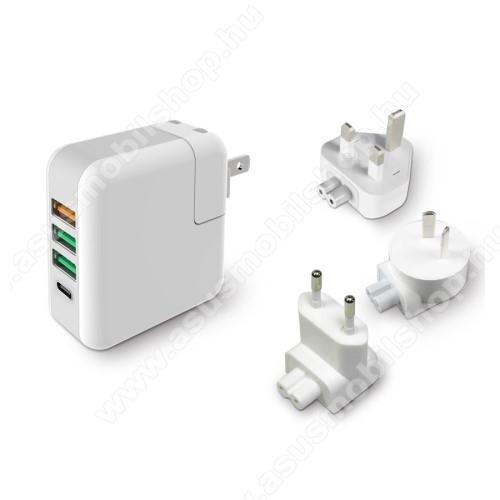ASUS Fonepad 7 (2015) FE375CLHálózati töltő / utazó töltő USB / Type C aljzattal - US UK EU AU 4 in 1, Quick Charge 3.0, 18W, 3x USB aljzat, USB1: 5V/2.4A; 3.6V~12V(18W); USB2-3 alzat: 5V/2.4A Max; Type-C aljzat 5V/3A - FEHÉR