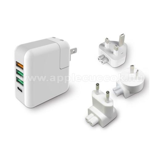 Hálózati töltő / utazó töltő USB / Type C aljzattal - US UK EU AU 4 in 1, Quick Charge 3.0, 18W, 3x USB aljzat, USB1: 5V/2.4A; 3.6V~12V(18W); USB2-3 alzat: 5V/2.4A Max; Type-C aljzat 5V/3A - FEHÉR