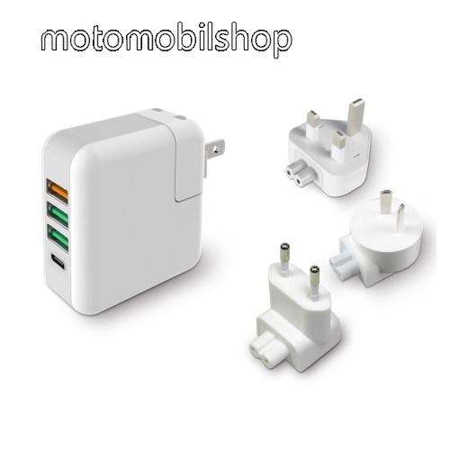 MOTOROLA U6 Hálózati töltő / utazó töltő USB / Type C aljzattal - US UK EU AU 4 in 1, Quick Charge 3.0, 18W, 3x USB aljzat, USB1: 5V/2.4A; 3.6V~12V(18W); USB2-3 alzat: 5V/2.4A Max; Type-C aljzat 5V/3A - FEHÉR