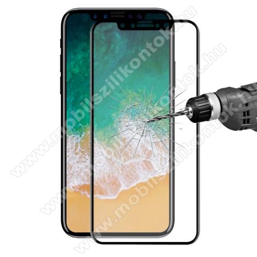 HAT PRINCE 3D Curved előlapvédő karcálló edzett üveg - 9H, 0,26mm, A TELJES ELŐLAPOT VÉDI! - FEKETE - APPLE iPhone 11 Pro / APPLE iPhone X / APPLE iPhone XS - GYÁRI