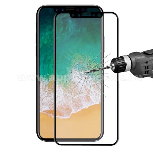 APPLE iPhone XSHAT PRINCE 3D Curved előlapvédő karcálló edzett üveg - 9H, 0,26mm, A TELJES ELŐLAPOT VÉDI! - FEKETE - APPLE iPhone X / APPLE iPhone XS - GYÁRI