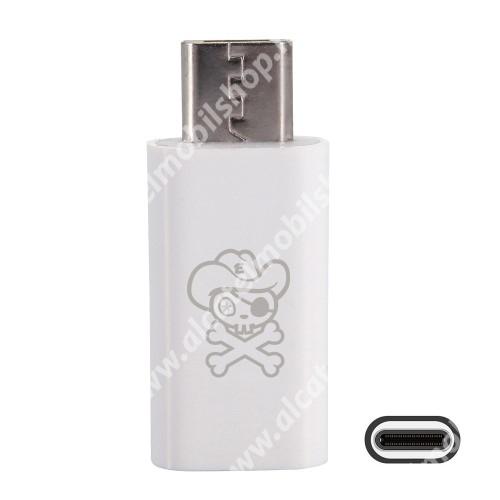 Alcatel OT-810D HAT PRINCE adapter USB 3.1 Type C-t microUSB 2.0-ra alakítja át - Adatátvitelre is képes - FEHÉR