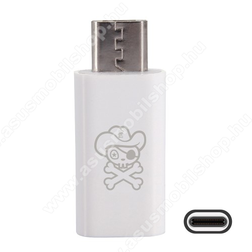 ASUS Zenfone Max (ZC550KL) (2016)HAT PRINCE adapter USB 3.1 Type C-t microUSB 2.0-ra alakítja át - Adatátvitelre is képes - FEHÉR