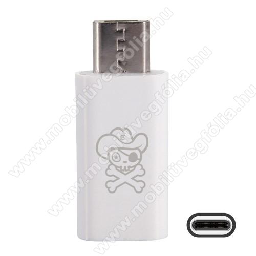 HUAWEI Enjoy 9eHAT PRINCE adapter USB 3.1 Type C-t microUSB 2.0-ra alakítja át - Adatátvitelre is képes - FEHÉR
