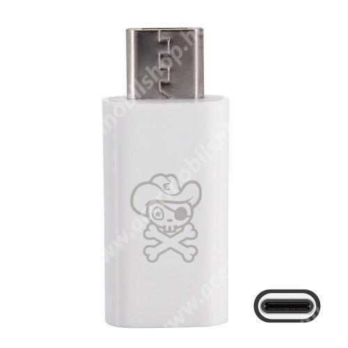 ACER Iconia Tab A3-A20 HAT PRINCE adapter USB 3.1 Type C-t microUSB 2.0-ra alakítja át - Adatátvitelre is képes - FEHÉR
