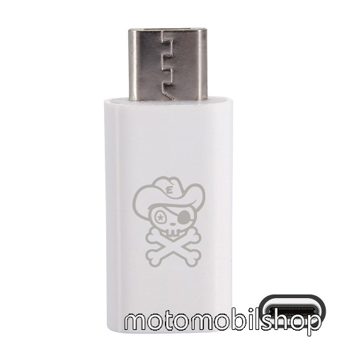MOTOROLA DROID Ultra HAT PRINCE adapter USB 3.1 Type C-t microUSB 2.0-ra alakítja át - Adatátvitelre is képes - FEHÉR