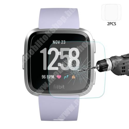 HAT PRINCE előlap védő karcálló edzett üveg - 2db - 0,2 mm vékony, 9H, 2.15D, A képernyő sík részét védi - Fitbit Versa / Fitbit Versa Lite